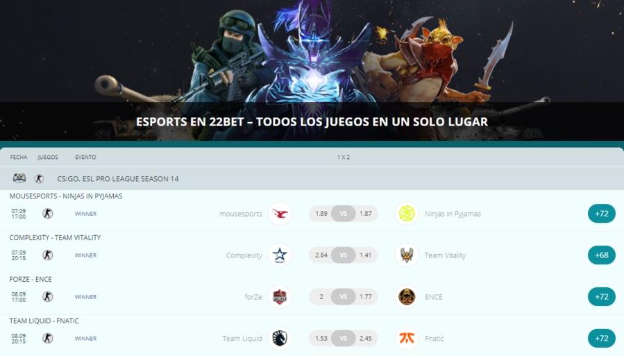 22bet Chile Esports y Deportes Virtuales